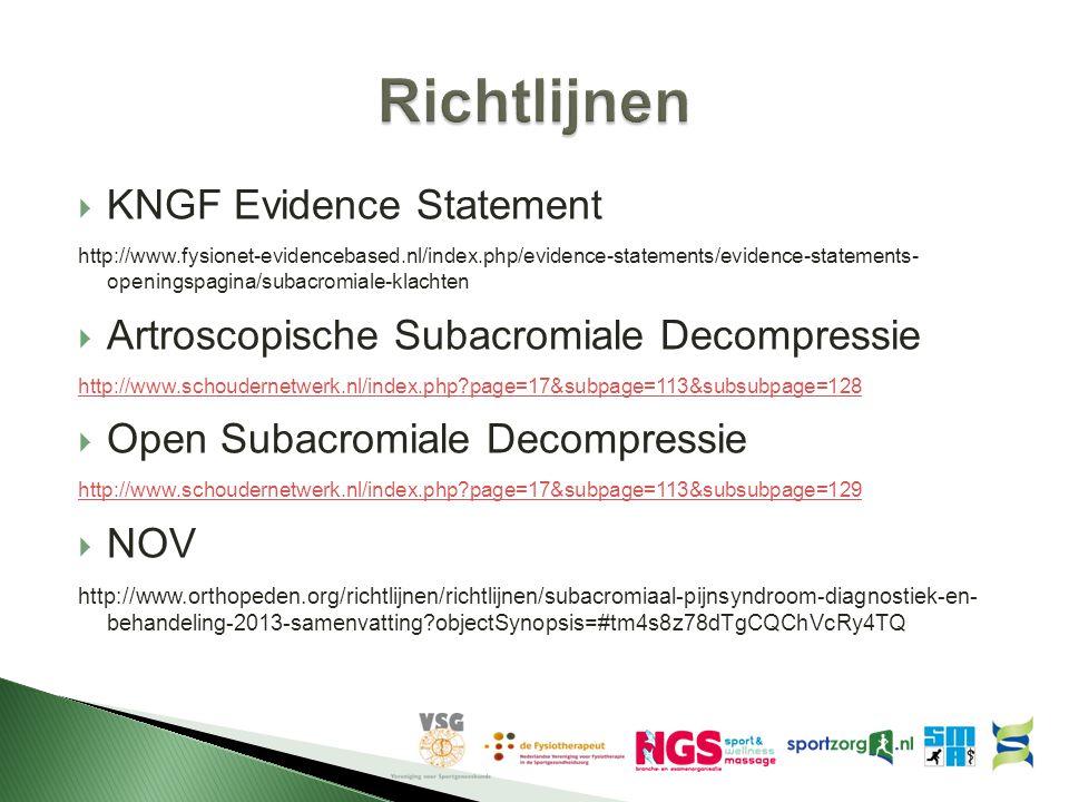 Richtlijnen KNGF Evidence Statement
