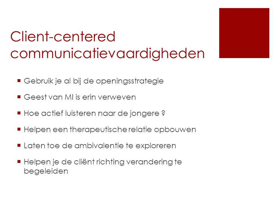 Client-centered communicatievaardigheden