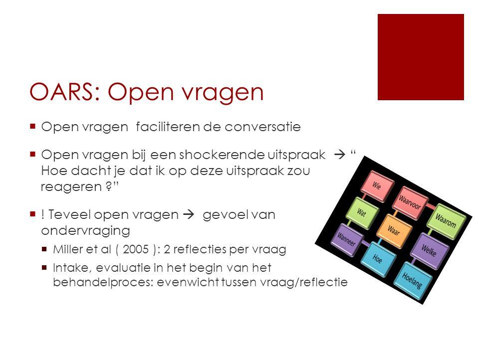 OARS: Open vragen Open vragen faciliteren de conversatie