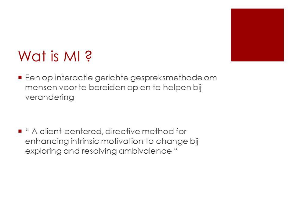 Wat is MI Een op interactie gerichte gespreksmethode om mensen voor te bereiden op en te helpen bij verandering.