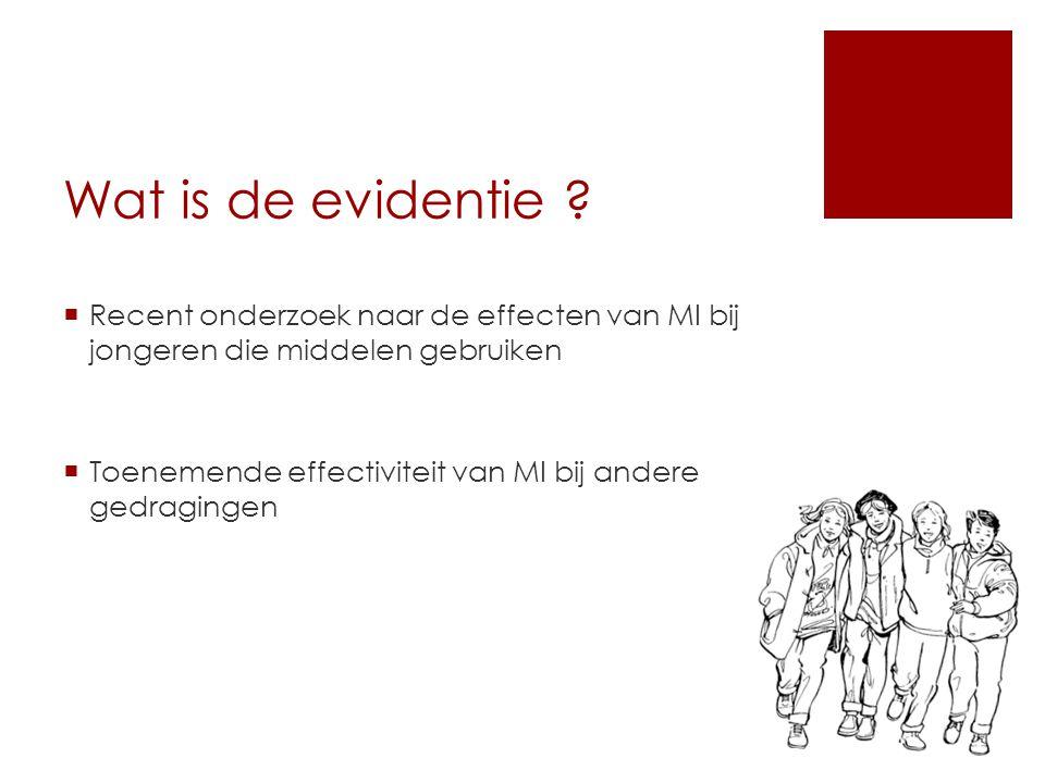 Wat is de evidentie Recent onderzoek naar de effecten van MI bij jongeren die middelen gebruiken.