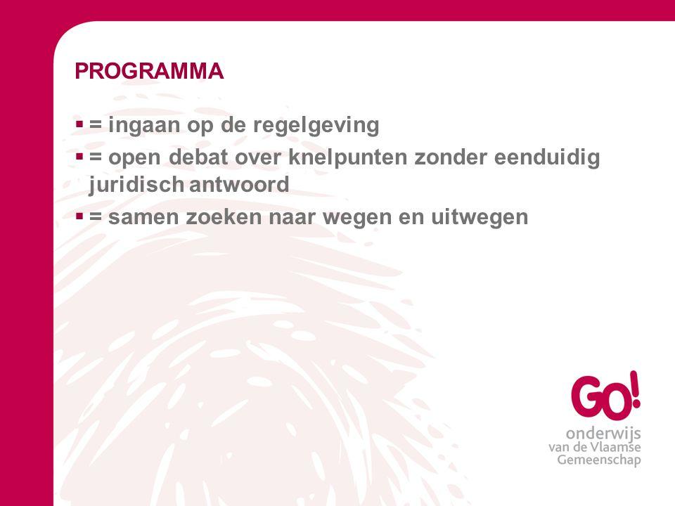 PROGRAMMA = ingaan op de regelgeving. = open debat over knelpunten zonder eenduidig juridisch antwoord.
