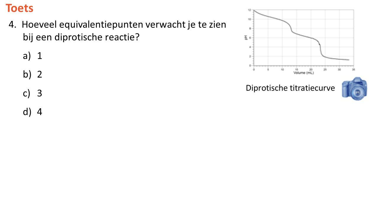 Toets 4. Hoeveel equivalentiepunten verwacht je te zien bij een diprotische reactie 1. 2. 3. 4.