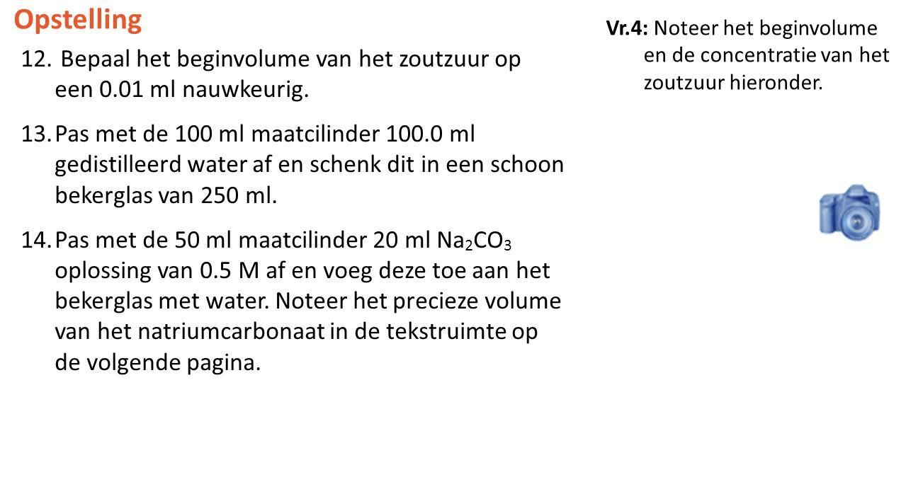 Opstelling Vr.4: Noteer het beginvolume en de concentratie van het zoutzuur hieronder.