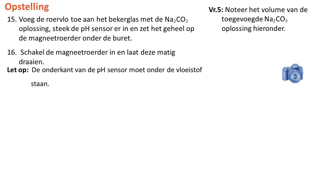 Opstelling Vr.5: Noteer het volume van de toegevoegde Na2CO3 oplossing hieronder.