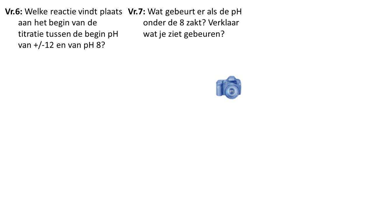Vr.6: Welke reactie vindt plaats aan het begin van de titratie tussen de begin pH van +/-12 en van pH 8