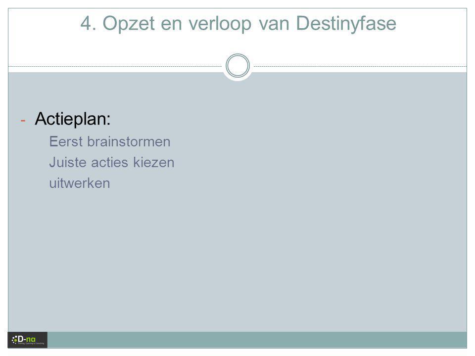 4. Opzet en verloop van Destinyfase