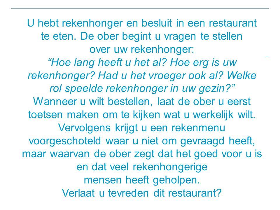 U hebt rekenhonger en besluit in een restaurant te eten