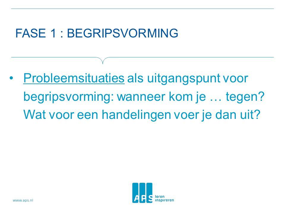 FASE 1 : BEGRIPSVORMING Probleemsituaties als uitgangspunt voor begripsvorming: wanneer kom je … tegen.