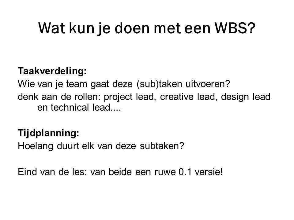 Wat kun je doen met een WBS