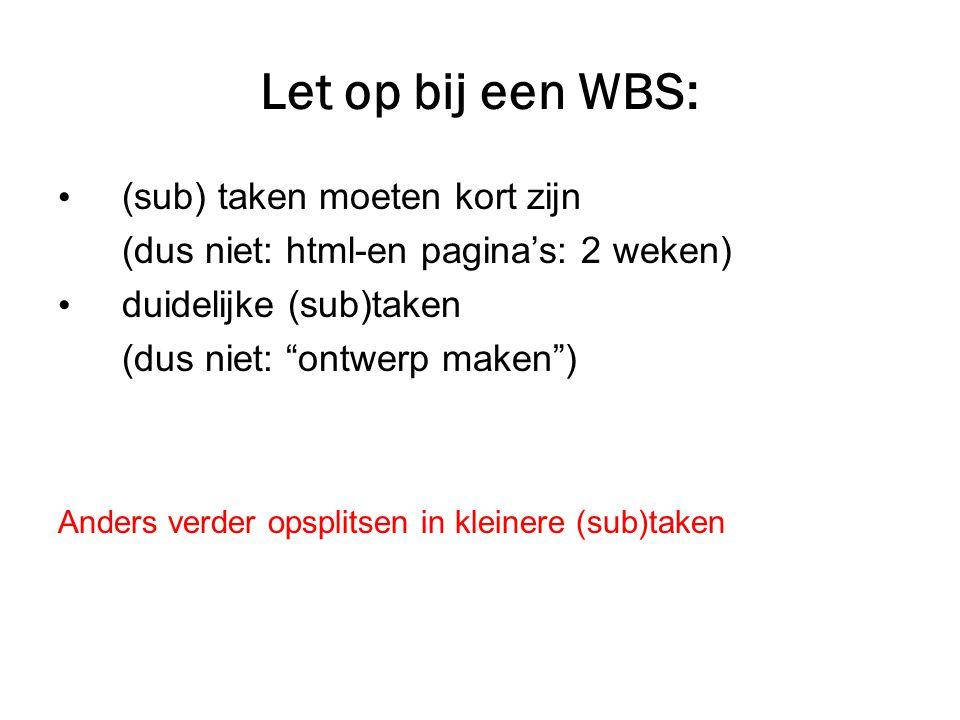 Let op bij een WBS: (sub) taken moeten kort zijn