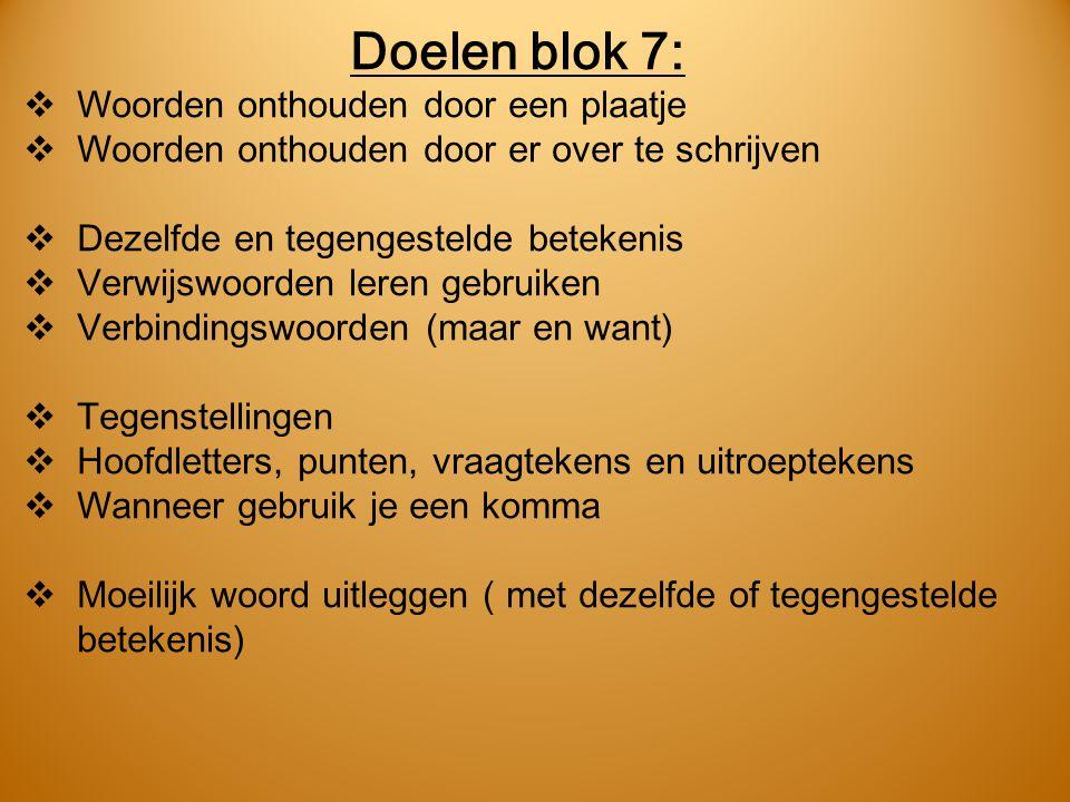 Doelen blok 7: Woorden onthouden door een plaatje