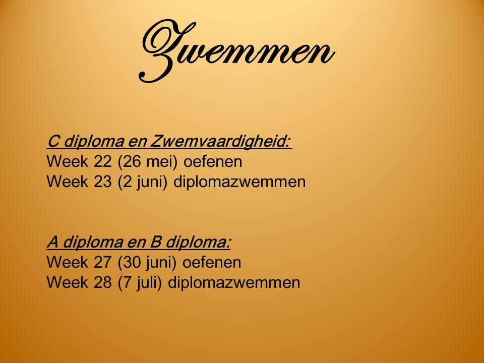 Zwemmen C diploma en Zwemvaardigheid: Week 22 (26 mei) oefenen Week 23 (2 juni) diplomazwemmen.