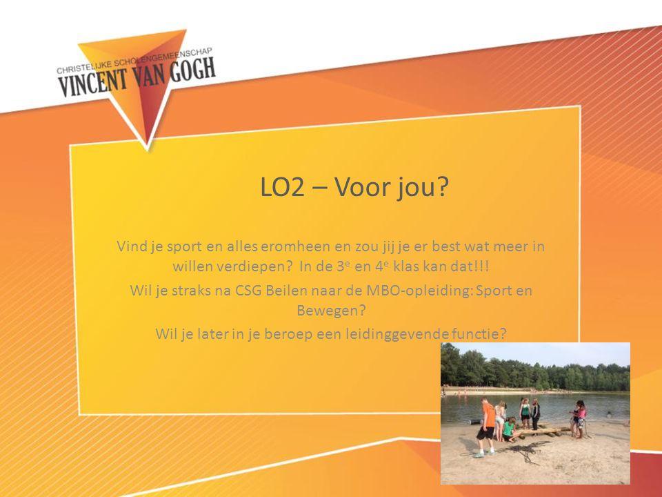LO2 – Voor jou Vind je sport en alles eromheen en zou jij je er best wat meer in willen verdiepen In de 3e en 4e klas kan dat!!!