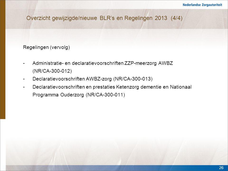 Overzicht gewijzigde/nieuwe BLR's en Regelingen 2013 (4/4)