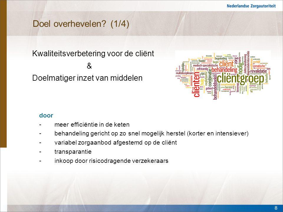 Doel overhevelen (1/4) Kwaliteitsverbetering voor de cliënt & Doelmatiger inzet van middelen door.