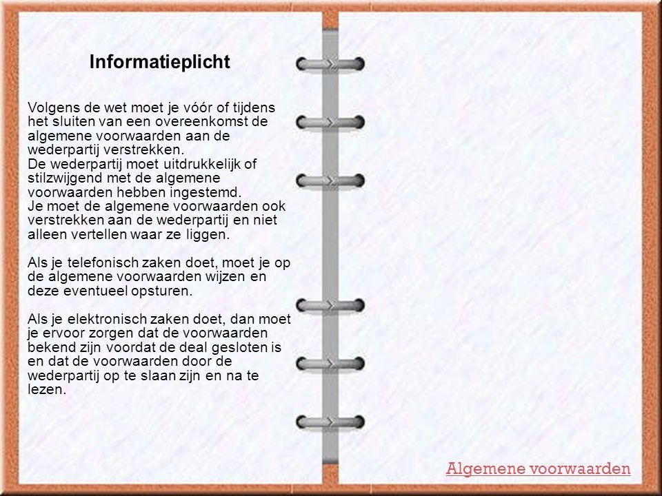 Informatieplicht Algemene voorwaarden