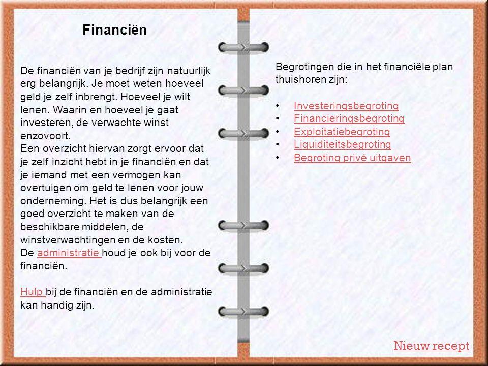 Financiën Nieuw recept