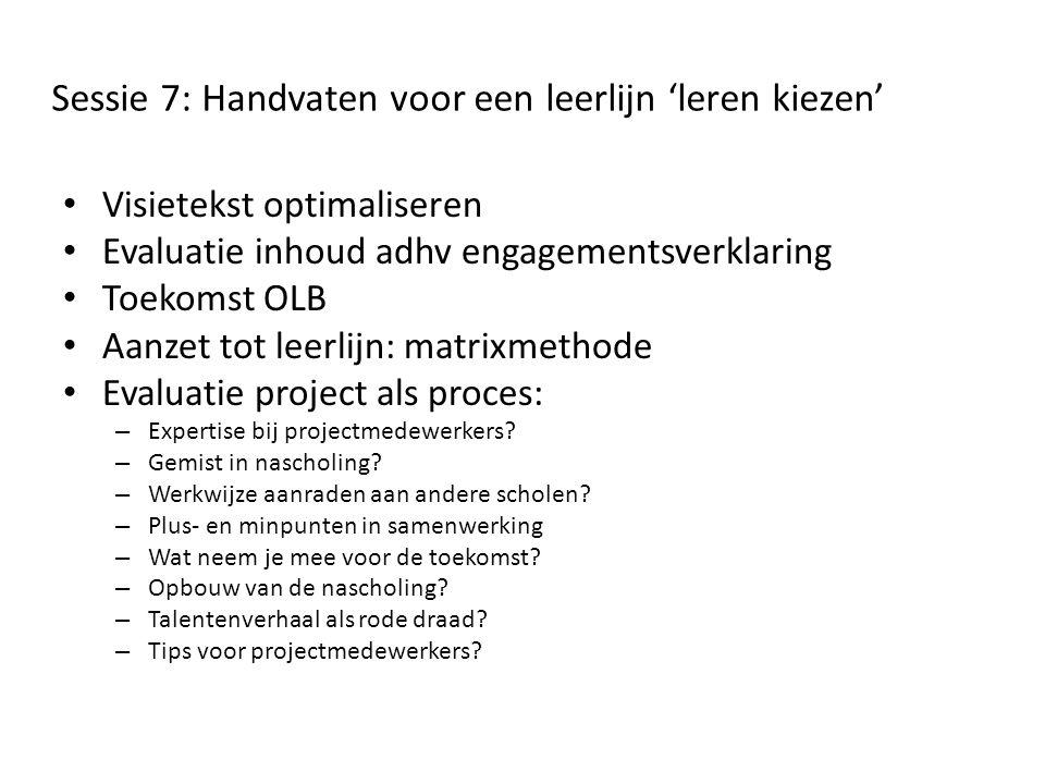 Sessie 7: Handvaten voor een leerlijn 'leren kiezen'