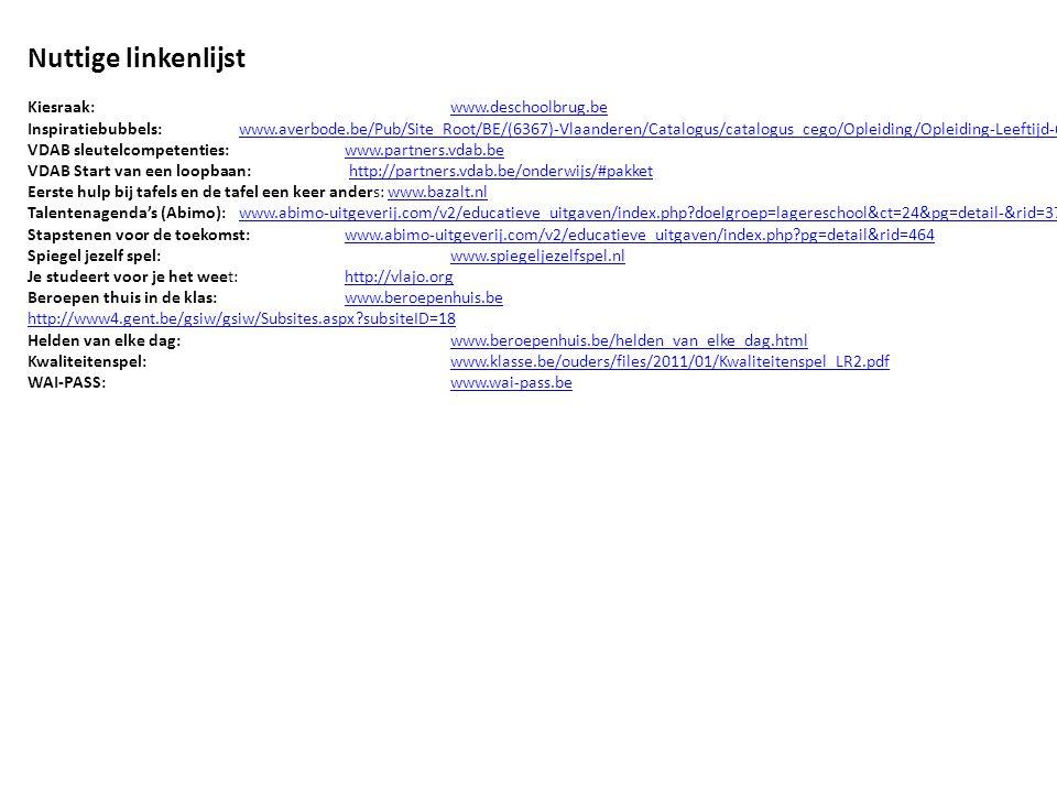 Nuttige linkenlijst Kiesraak: www.deschoolbrug.be