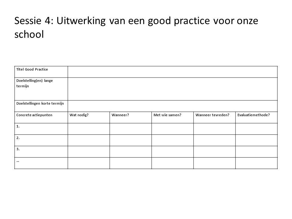 Sessie 4: Uitwerking van een good practice voor onze school
