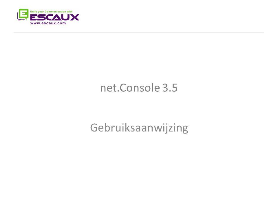 net.Console 3.5 The net.Console User Manual Gebruiksaanwijzing