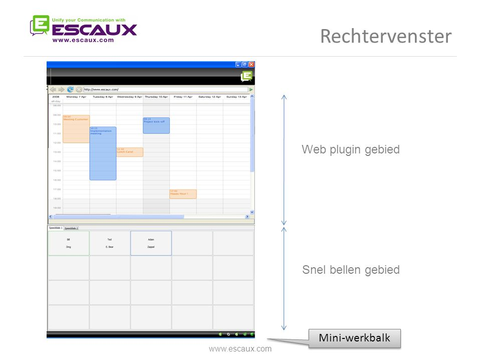 Rechtervenster Web plugin gebied Snel bellen gebied Mini-werkbalk