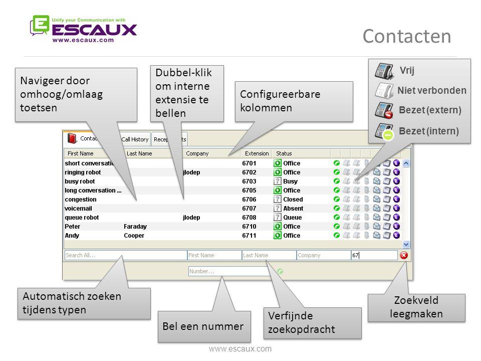 Contacten Dubbel-klik om interne extensie te bellen