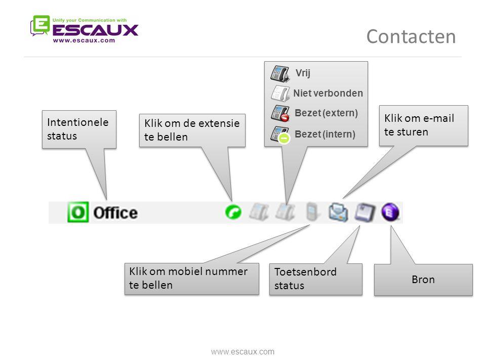 Contacten Klik om e-mail te sturen Intentionele status