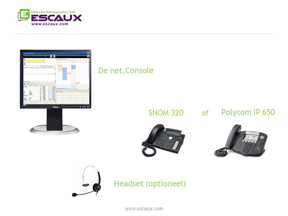 De net.Console SNOM 320 Polycom IP 650 Headset (optioneel) of
