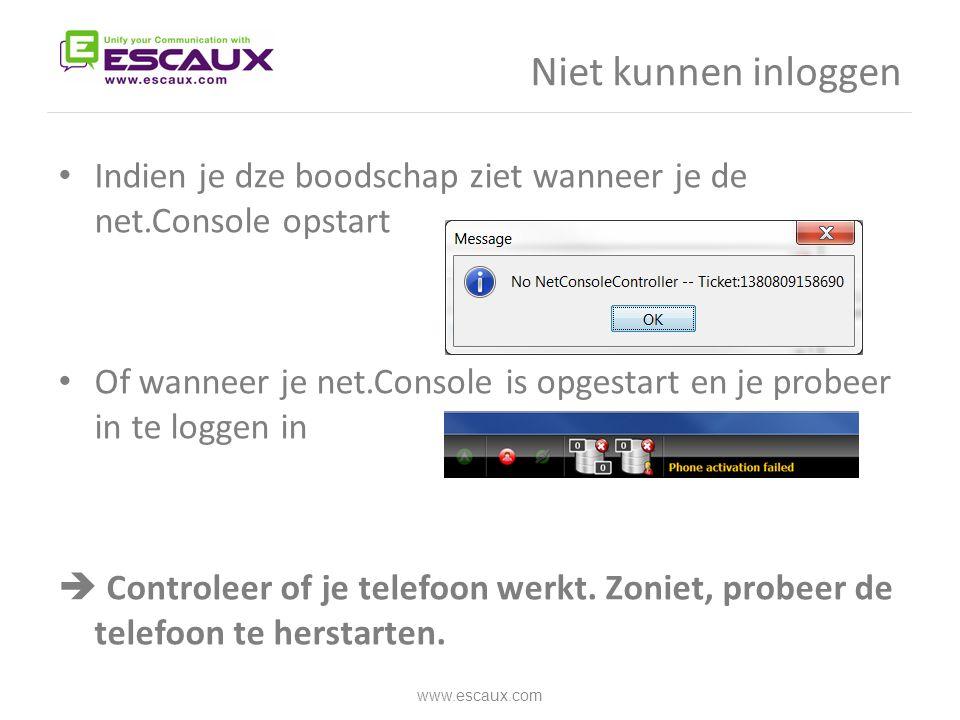Niet kunnen inloggen Indien je dze boodschap ziet wanneer je de net.Console opstart.