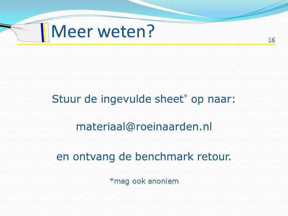 Meer weten Stuur de ingevulde sheet* op naar: