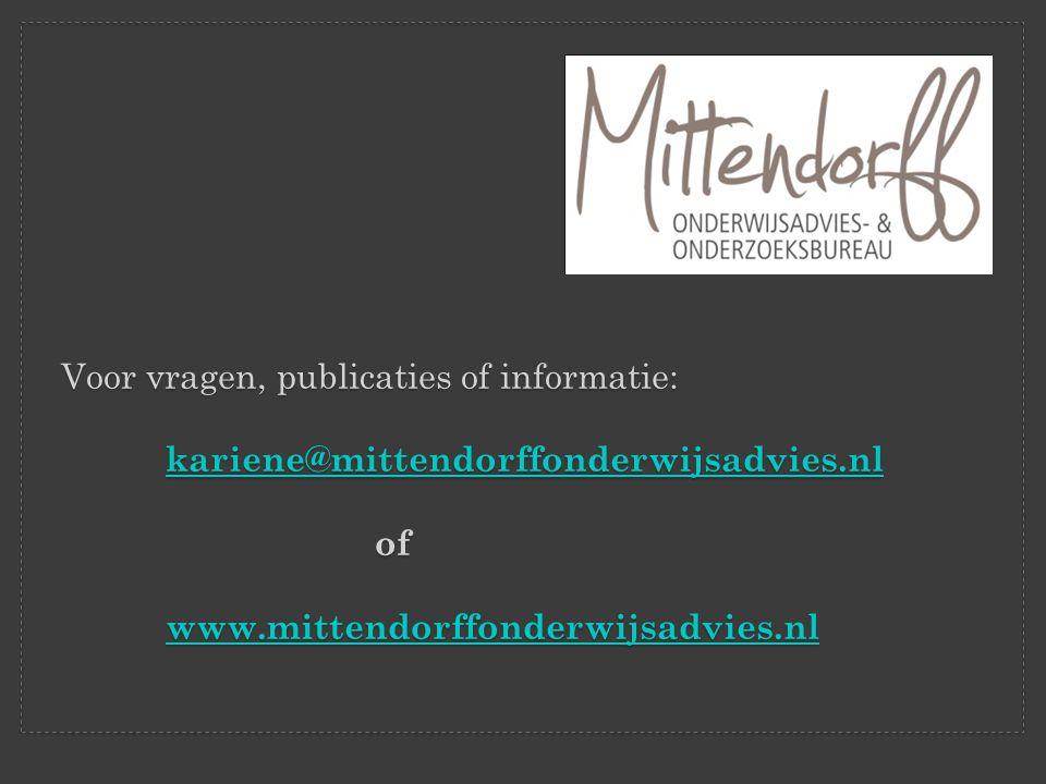 Voor vragen, publicaties of informatie:
