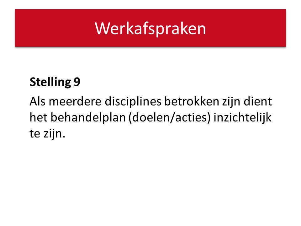 Werkafspraken Stelling 9 Als meerdere disciplines betrokken zijn dient het behandelplan (doelen/acties) inzichtelijk te zijn.