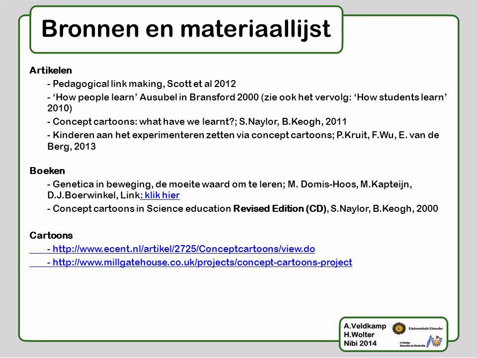Bronnen en materiaallijst