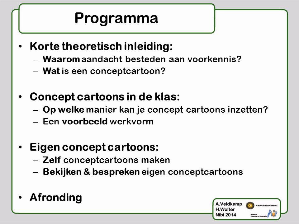 Programma Korte theoretisch inleiding: Concept cartoons in de klas: