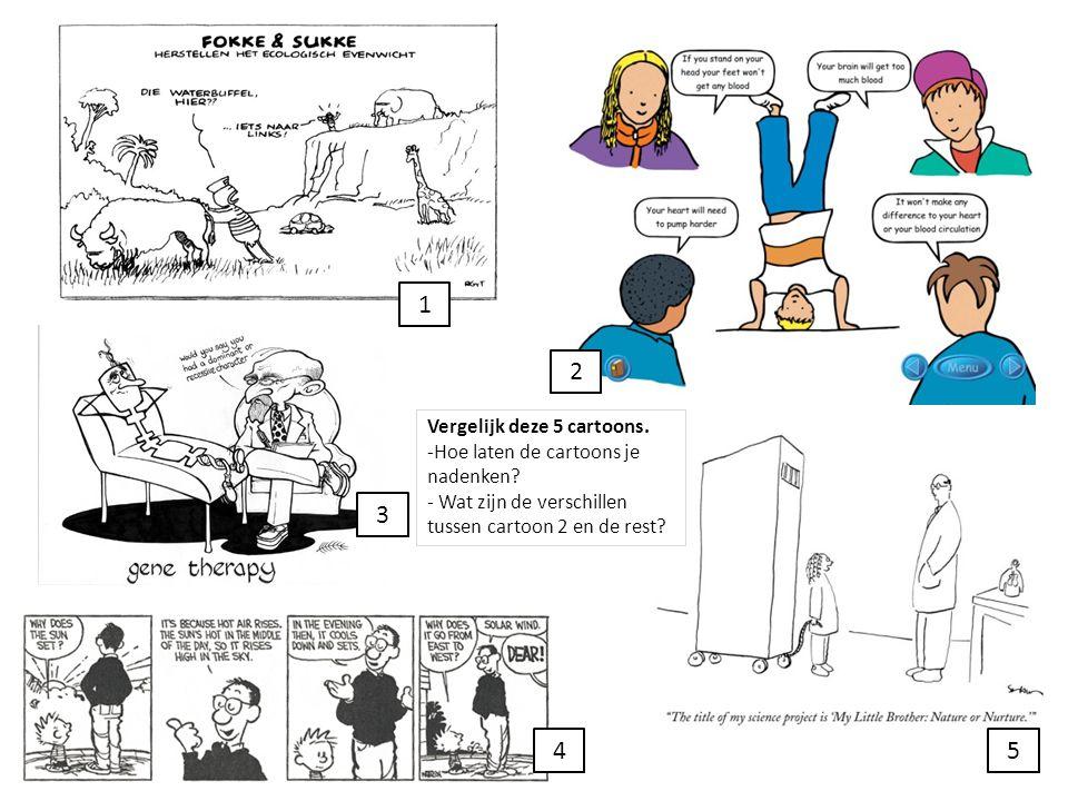 1 2. Vergelijk deze 5 cartoons. -Hoe laten de cartoons je nadenken - Wat zijn de verschillen tussen cartoon 2 en de rest