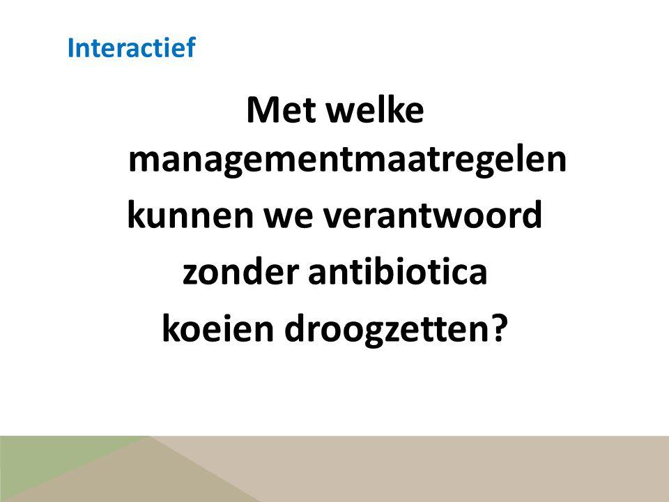 Interactief Met welke managementmaatregelen kunnen we verantwoord zonder antibiotica koeien droogzetten.