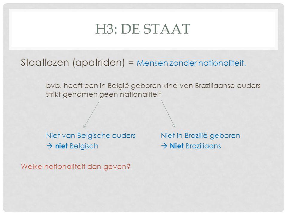 H3: DE StAAT Staatlozen (apatriden) = Mensen zonder nationaliteit.