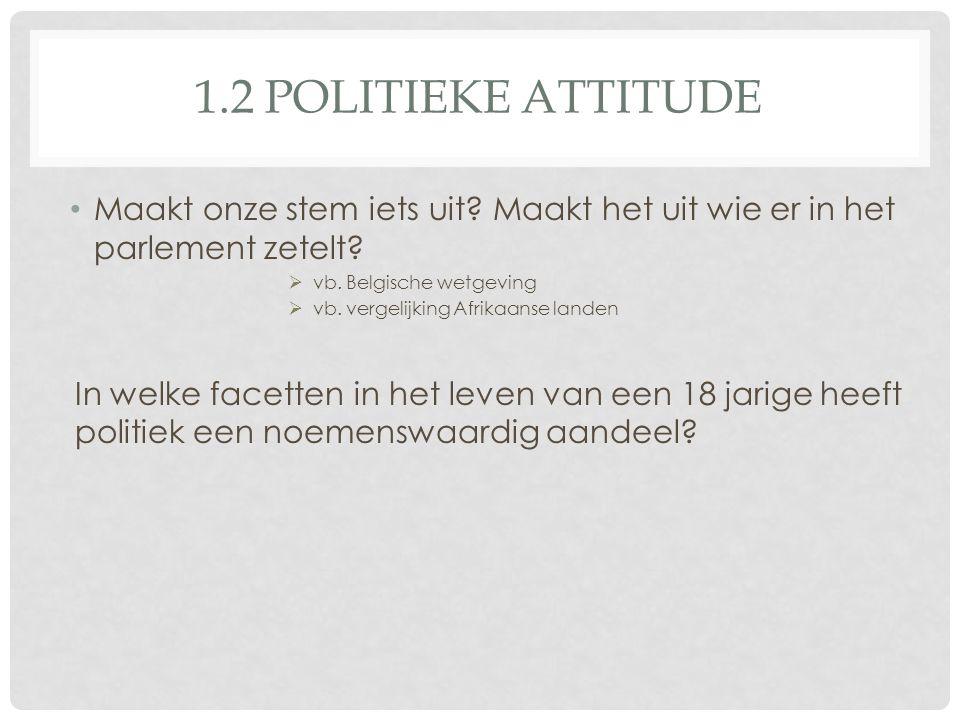 1.2 Politieke attitude Maakt onze stem iets uit Maakt het uit wie er in het parlement zetelt vb. Belgische wetgeving.