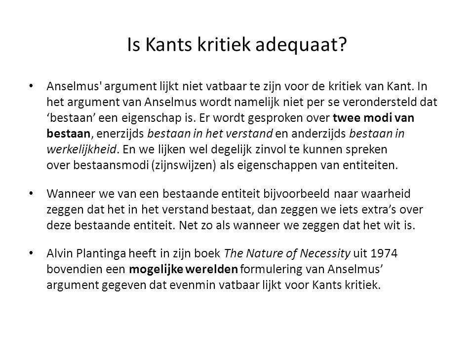 Is Kants kritiek adequaat