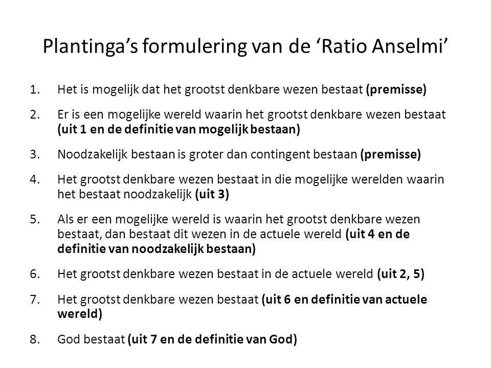 Plantinga's formulering van de 'Ratio Anselmi'