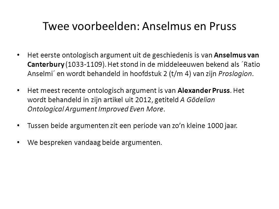 Twee voorbeelden: Anselmus en Pruss