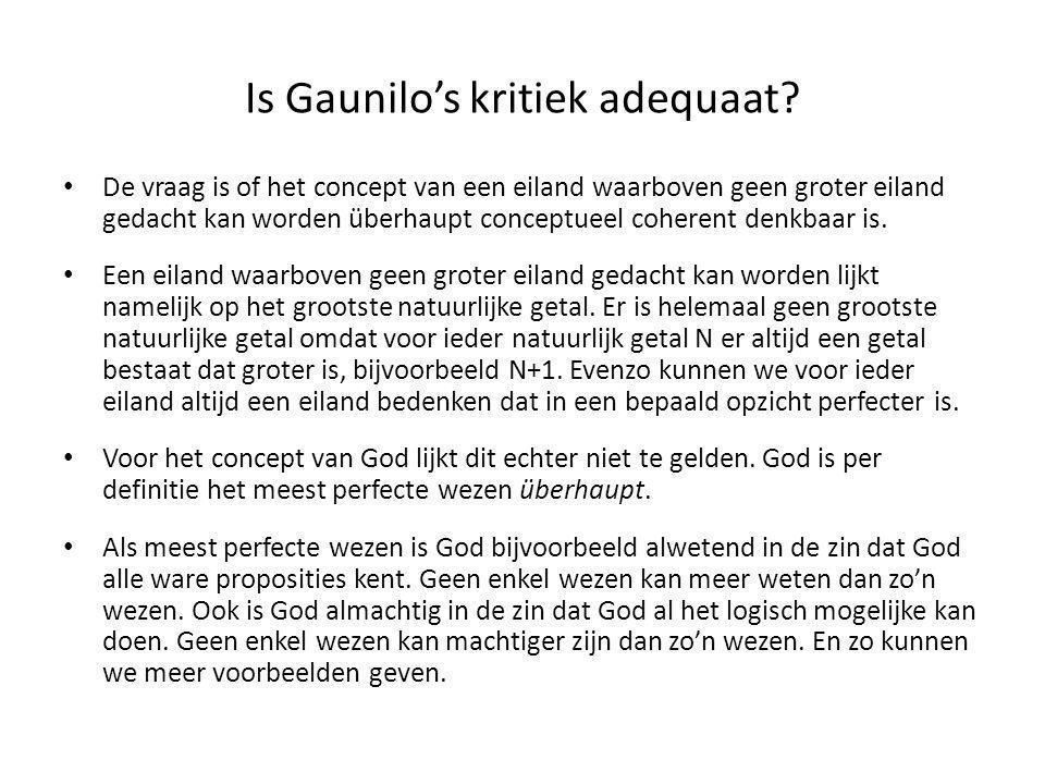 Is Gaunilo's kritiek adequaat