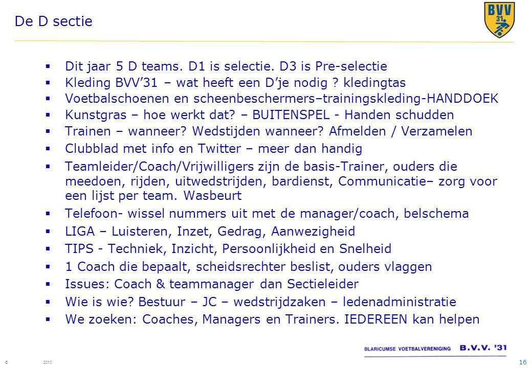 De D sectie Dit jaar 5 D teams. D1 is selectie. D3 is Pre-selectie