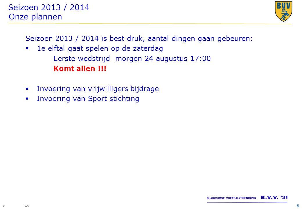 Seizoen 2013 / 2014 Onze plannen Seizoen 2013 / 2014 is best druk, aantal dingen gaan gebeuren: 1e elftal gaat spelen op de zaterdag.