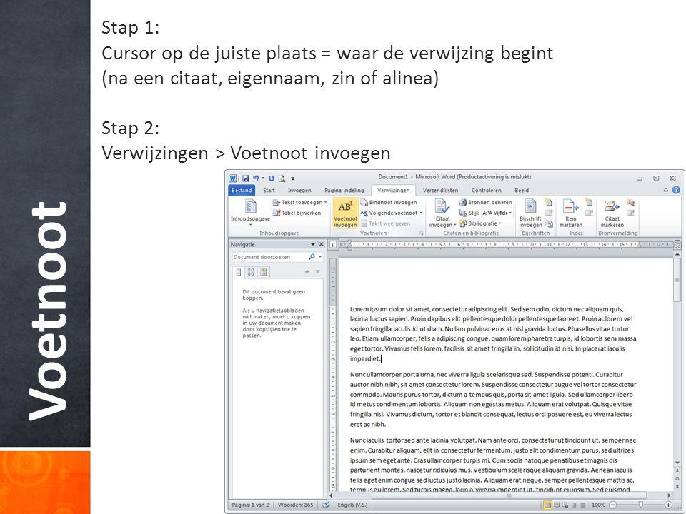 Stap 1: Cursor op de juiste plaats = waar de verwijzing begint. (na een citaat, eigennaam, zin of alinea)
