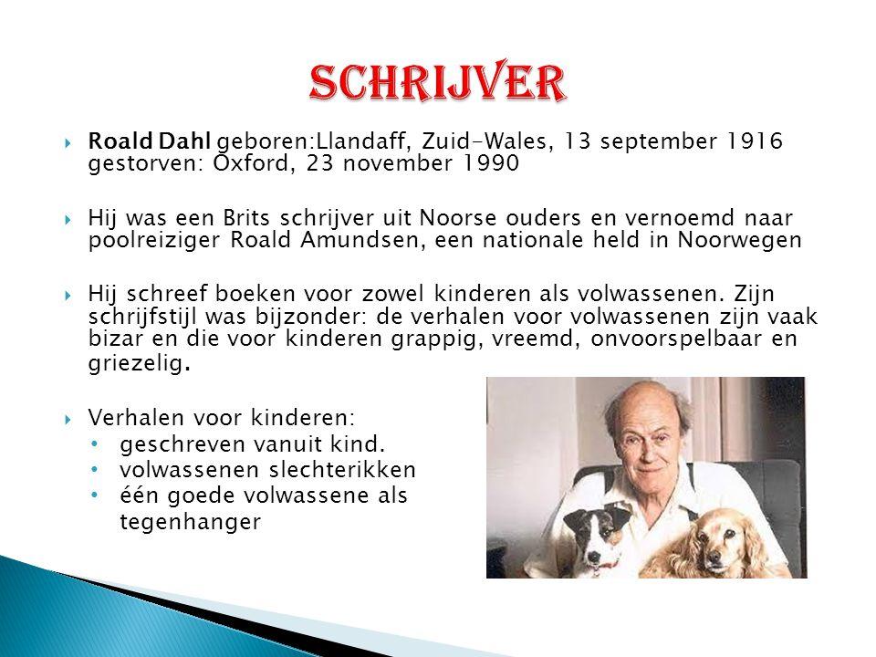 schrijver Roald Dahl geboren:Llandaff, Zuid-Wales, 13 september 1916 gestorven: Oxford, 23 november 1990.