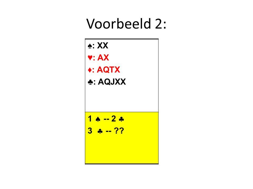 Voorbeeld 2: ♠: XX ♥: AX ♦: AQTX ♣: AQJXX 1  -- 2  3  --