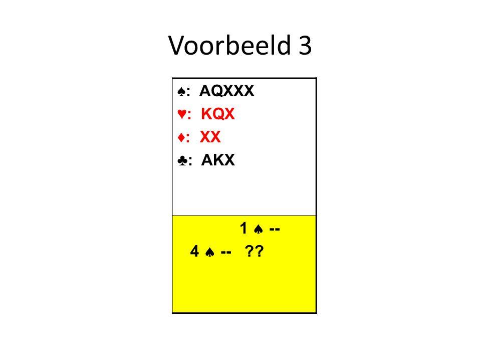 Voorbeeld 3 ♠: AQXXX ♥: KQX ♦: XX ♣: AKX 1  -- 4  --